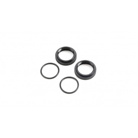 Shock Adjuster Nut with O-ring, Aluminum Black (2): 5B, 5T, MINI WRC